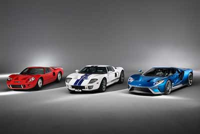 Three generations of Ford GT super car