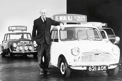 Sir Alec Issigonis with Mini number 1