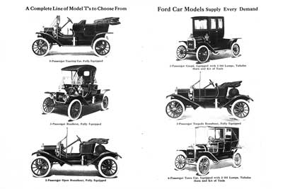 Ford Model T History - model range - carphile.co.uk
